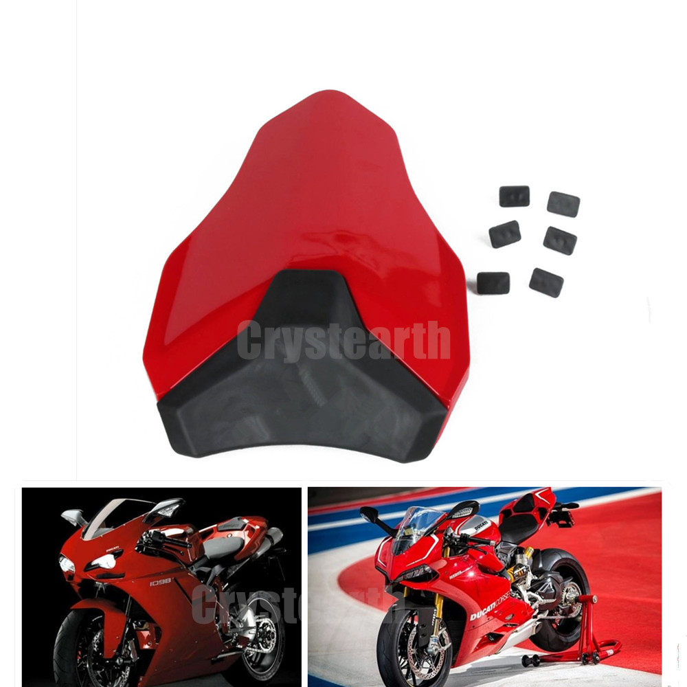 For DUCATI 848 1098 1198 All Year Motorcycle Rear Seat Cover Cowl Solo Motor Motocross Seat Fairing Cowl Red ABS Plastic for ktm 390 duke motorcycle leather pillon passenger rear seat black color