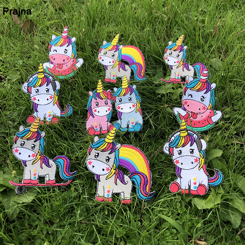 Prajna Hippie Unicorn Iron On Patches Magic Unicorn Accessories Embroidered Patches For Clothes Applique Kids Dress T-shirts DIY