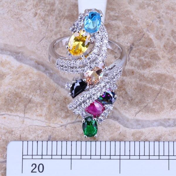 Édes többszínű zöld köbös cirkónium ezüstözött gyűrű - Divatékszer - Fénykép 3