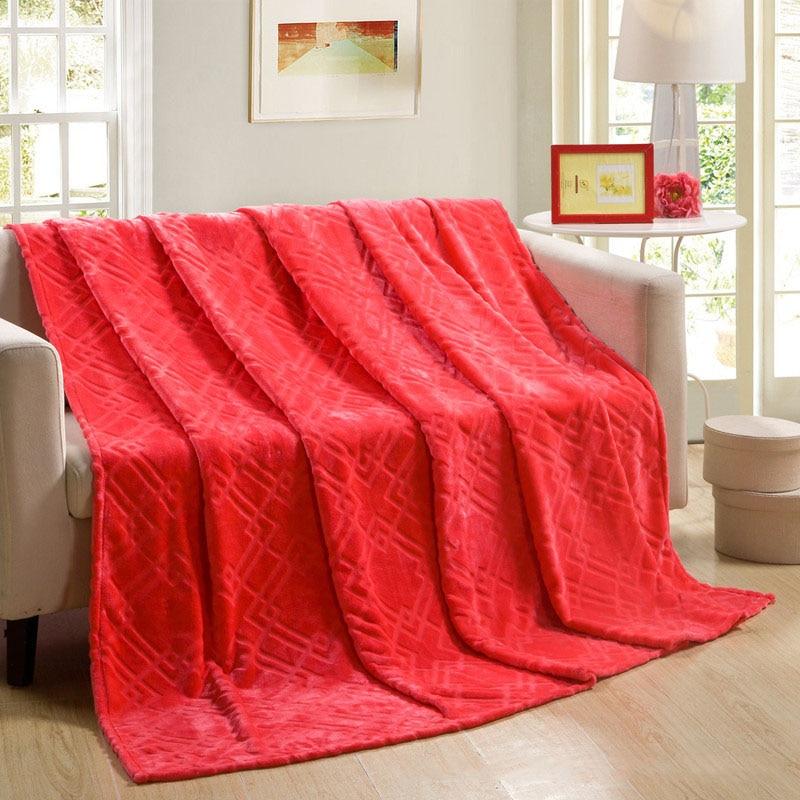 flannel blanket antipilling blanket red rectangle blankets throw blanket soft 1pcslot - Flannel Blanket
