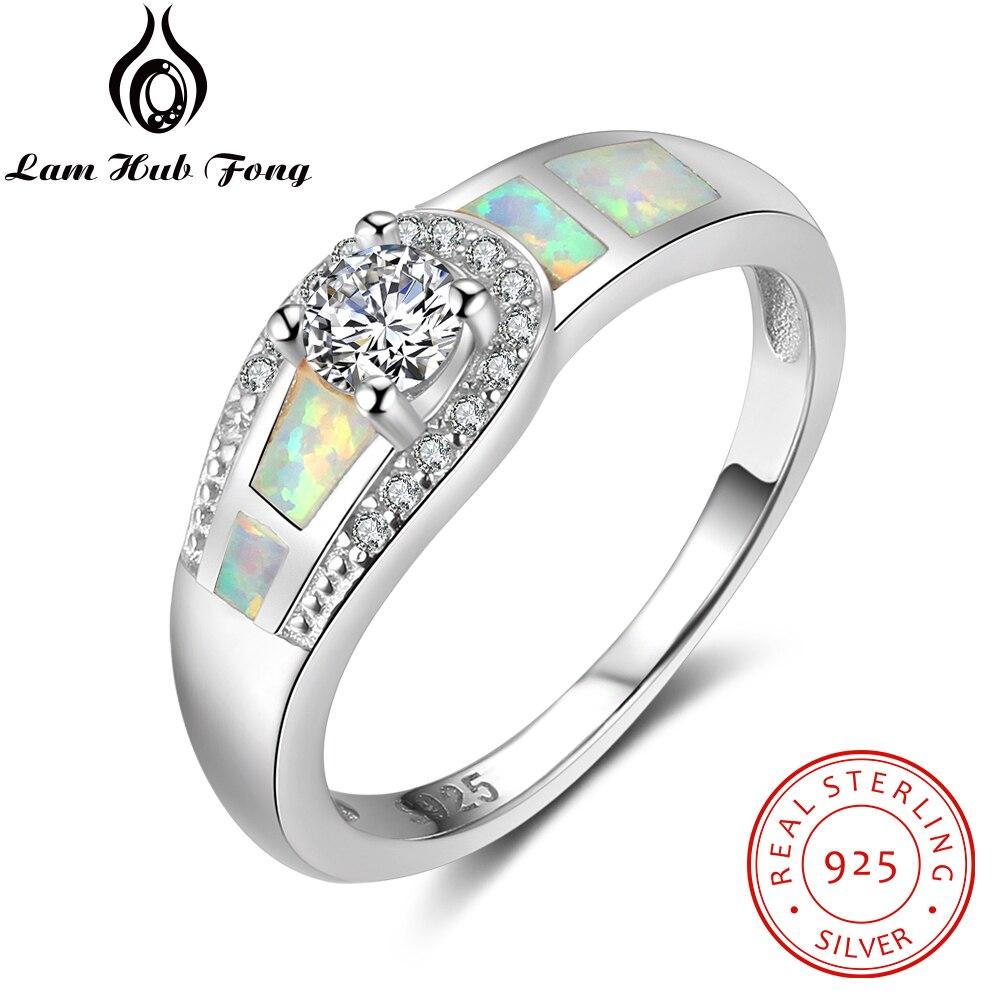 100% 925 Sterling Silber Ring Weiß Opal Stein Mit Zirkonia Für Frauen Monther Tag Romantische Geschenk (lam Hub Fong) Gut FüR Energie Und Die Milz