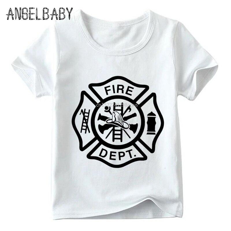Bombero regalo de bombero impresión niños T camisa de los niños y niñas de verano de manga corta Tops niños Casual camiseta blanca ooo405