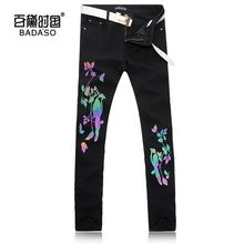 2017 new New Arrival Luminous Bird Floral Printed Jeans High Quality Black Denim Overalls Mens Fashion cotton trousers.28-38