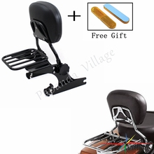 Papanda Motorbike Black Backrest Sissy Bar Adjustable Luggage Rack for Harley Softail 2000-2006