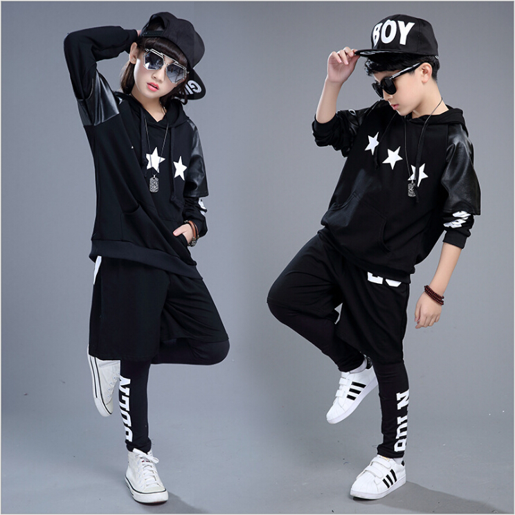 New Fashion Sportswear Children's Clothing Set Boys Girls Costumes Five-pointed Star Jazz Hip Hop Dance Kids Suits 3pcs wholesale new fashion autumn casual sport suits tracksuits for kids gold chain printing hip hop outwear boys clothing sets