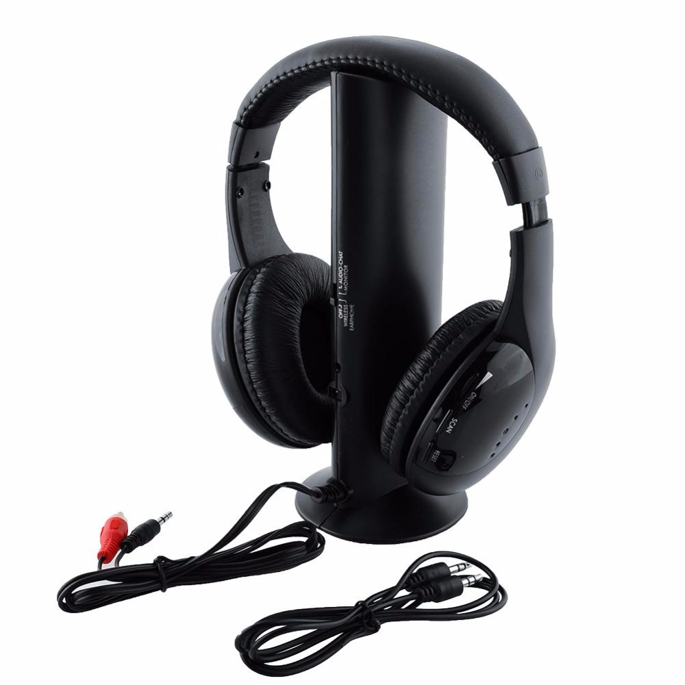New Black 5 in 1 Wireless Cordless Headphone Headset Earphone MP3/MP4 TV FM Professional Music HD Bluetooth headphones Gift 2017 brand new multifunction 5 in 1 cordless headphone fm wireless headset earphone for mp4 mp3 pc tv ipod auriculares mikrafon