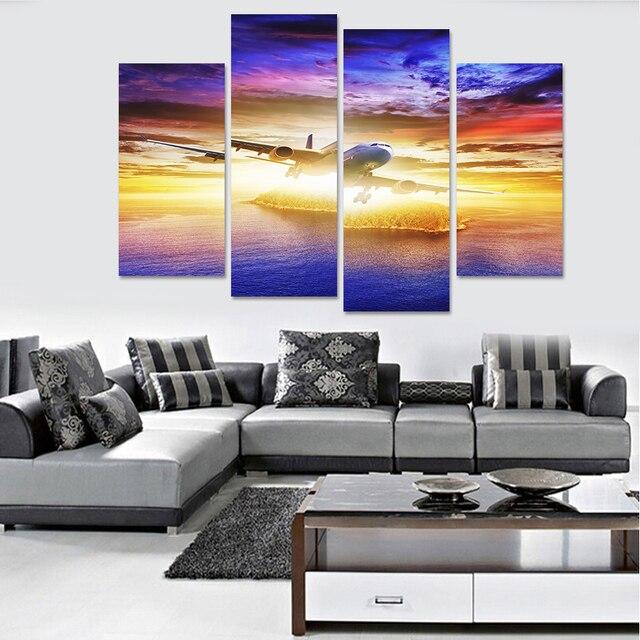 22 69 Promotion Réel Moderne Toile 4 Panneaux Peinture Mur Extérieur Espace Art Pictures Home Decor Modulaire Pour Le Salon Sans Cadre Dans