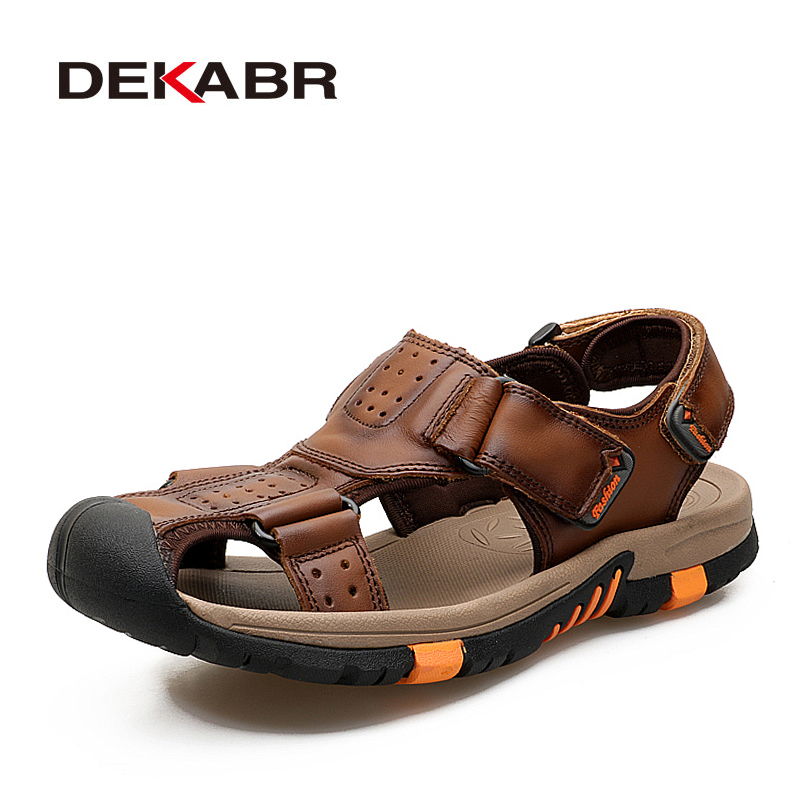 DEKABR Brand Men Genuine Leather Sandals Fashion Slippers Male Breathable Summer Beach Shoes Sandals Casual Men Shoes Size 38~45