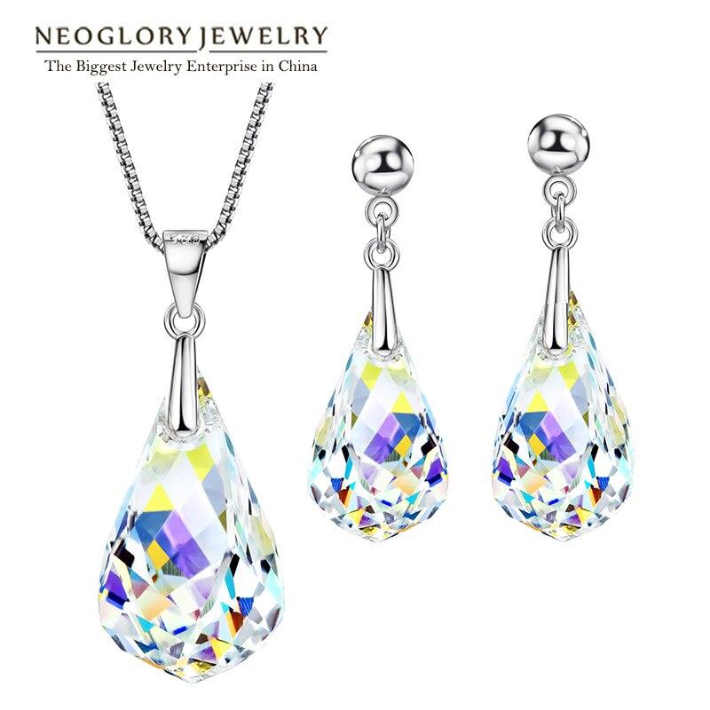 Neoglory Parures FAIT AVEC SWAROVSKI ELEMENTS Cristal Transparent Colliers et Boucles D'oreilles De Mariage Pour Les Femmes 2018 Nouveaux Cadeaux T1
