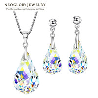 Neoglory Jewelry Sets MADE WITH SWAROVSKI ELEMENTS Crystal Transparent Necklaces & Earrings Wedding For Women 2018 New Gifts T1