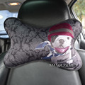 2pcs/Pair BullDog Car High Quality Headrest Pillow Red Hat&Golf Digital Printing Pattern Hat Seat Head Neck Rest Cushion