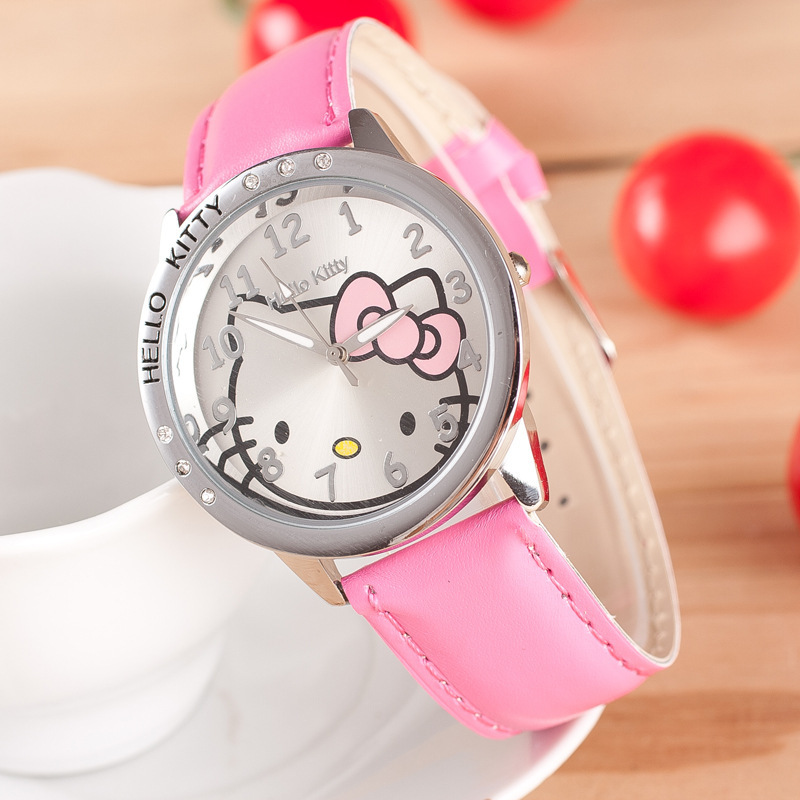 6cb83e364 Cartoon Fashion NEW Hello Kitty Quartz Watch Children Girl Women Leather Crystal  Wrist Watch Kids Wristwatch Clock relogio 902