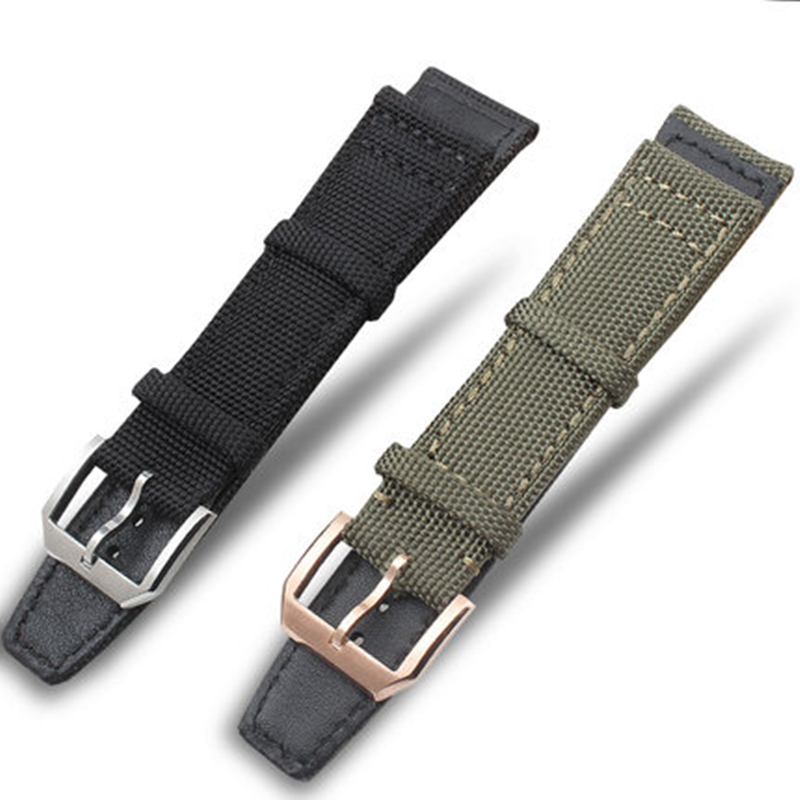 TJP 20mm 21mm 22mm Green Black Nylon + Genuine Leather Watch Strap Watchbands For IWC/PORTUGIESER CHRONOGRA With Silver Buckle niko black 21 23 26 ukulele bag silver edge nylon soprano concert tenor soft case gig bag 5mm thick sponge