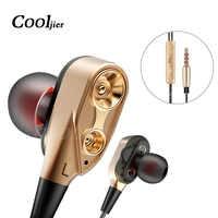 COOLJIER Double unité lecteur casque dans l'oreille écouteur basse stéréo écouteur pour téléphone DJ mp3 Sport écouteurs casque écouteurs avec micro