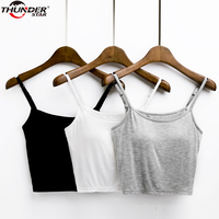 Summer Bralette Crop Top Women Modal Bulid In Bra Sleeveless T Shirt Women Padded Bra Spaghetti