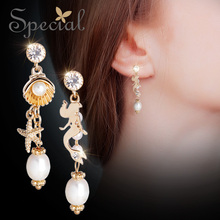 Special Brand Fashion Natural Pearls Drop Earrings Ear Hook 925 Sterling-Silver-Jewelry Gifts for Women S1816E