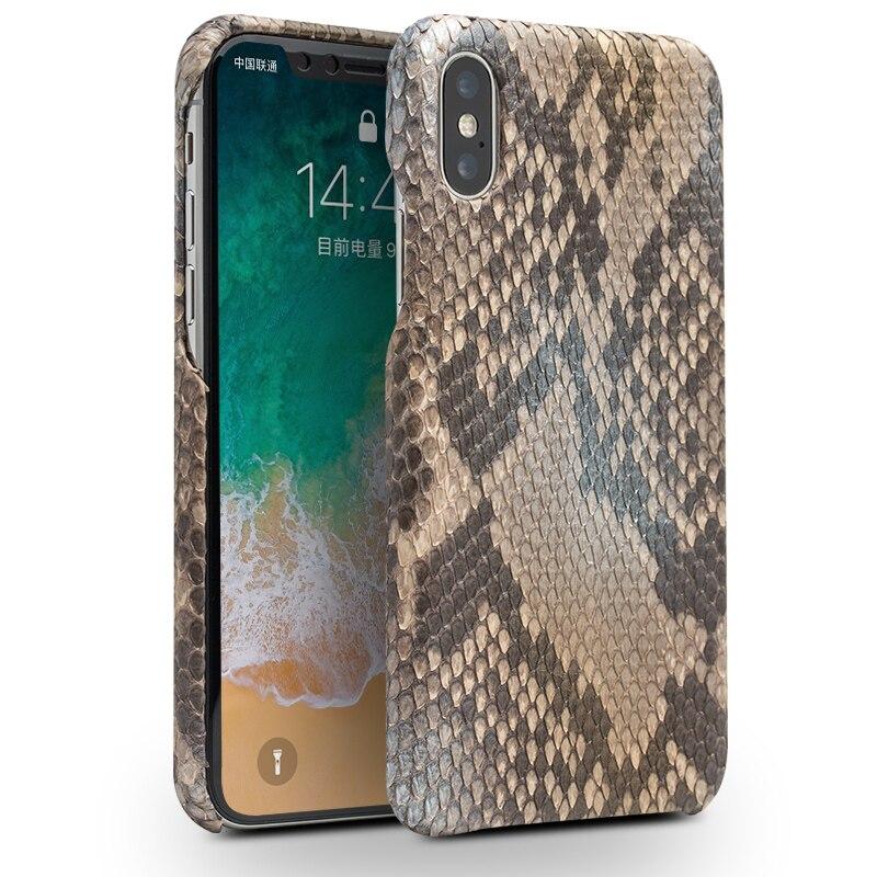 QIALINO luxe personnalisé peau de Python en cuir véritable étui pour iphone X Ultra mince mode couverture arrière pour iphone pour 5.8 pouces