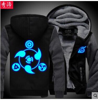 Anime NARUTO Akatsuki Roupas luminosa unisex casaco de moletom com capuz  Engrossar Casaco de lã de inverno Cosplay Hatake Kakashi em Hoodies    Camisolas de ... 0b2489e992e50