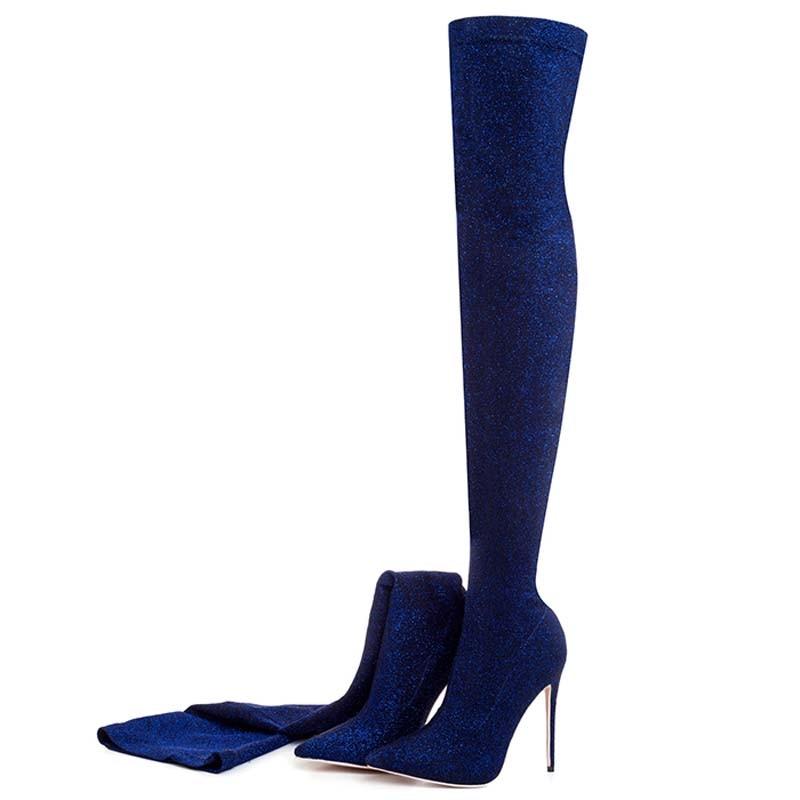 Hiver Le Femmes Pour Mode De Longues Gilola Chaussures Bling Cm wine Genou pourpre Y0309130q Noir Automne Bottes Noir bleu Femme Hauts or Sur argent Red vert Talons 12 vvYqaP6