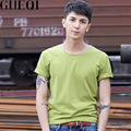 GEUQI Candy Colors Man Summer T-Shirts Plus Size M-3XL Solid Color O-Neck Tops 2017 Men Casual Brand Tees