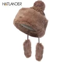 [Hatlander] Pieles de animales bola Beanie pompom invierno sombreros para las mujeres casual skullies gorro Niñas punto sombrero al aire libre femenino casquillos calientes