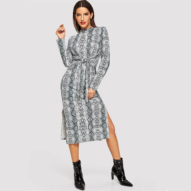 COLROVIE Mock Neck Snake Print Split Long Sleeve Sexy Dress Women Autumn Streetwear Party Dress Bodycon Casual Midi Dresses 16