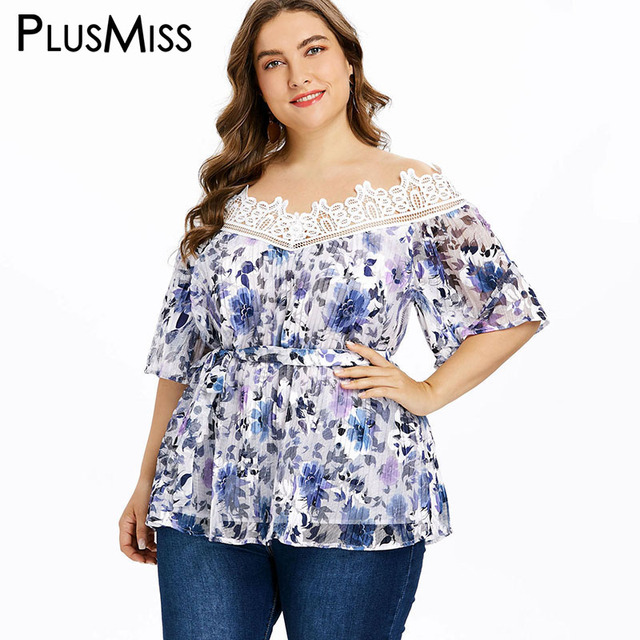 5bdc66e00fdff PlusMiss Plus Size 5XL Sexy Lace Croche Bell Flare Sleeve Blouse Women Big  Size Lace Up Vintage Tunic Mesh Tops XXXXL XXXL XXL