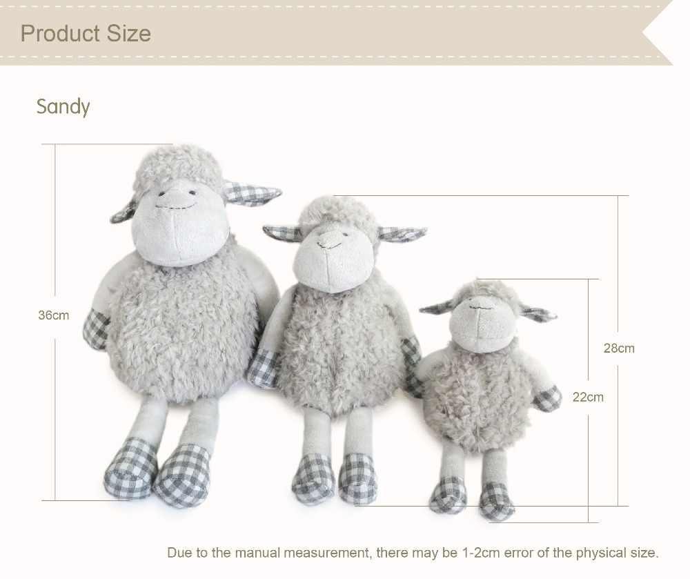 Luksusowa Junior Lamb miękka zabawka Premium prezent urodzinowy dla dzieci ręcznie wypchane zwierzę zabawki szara owca pluszowa figurka lalka 22cm