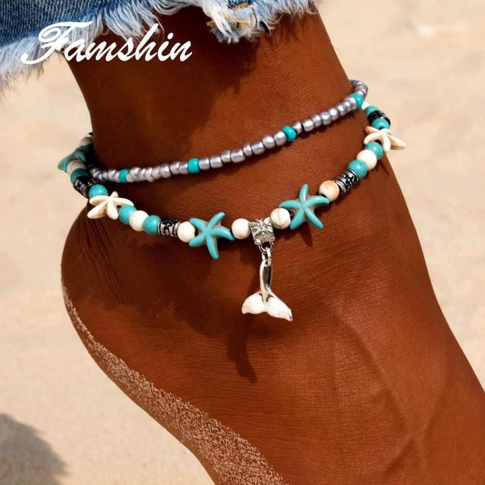 FAMSHIN czeski syrenka obrączki dla kobiet w stylu Vintage wielowarstwowe koralik Anklet bransoletka na nogę sandały Boho DIY lato urok biżuterii