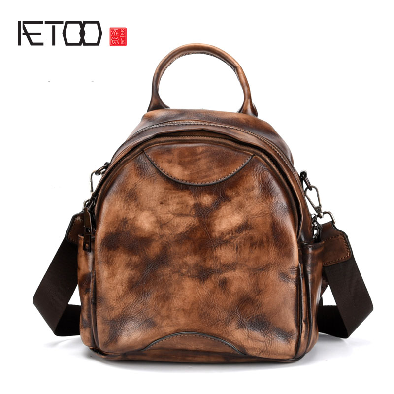 AETOO New hand-painted retro shoulder bag tree cream leather backpack casual simple leather first layer leather ladies bag aetoo spring and summer new leather handmade handmade first layer of planted tanned leather retro bag backpack bag