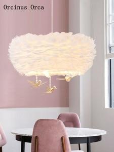 Image 1 - Iskandinav karikatür kristal kuş tüy avize çocuk odası yatak odası Modern basit rüya LED beyaz tüy avize
