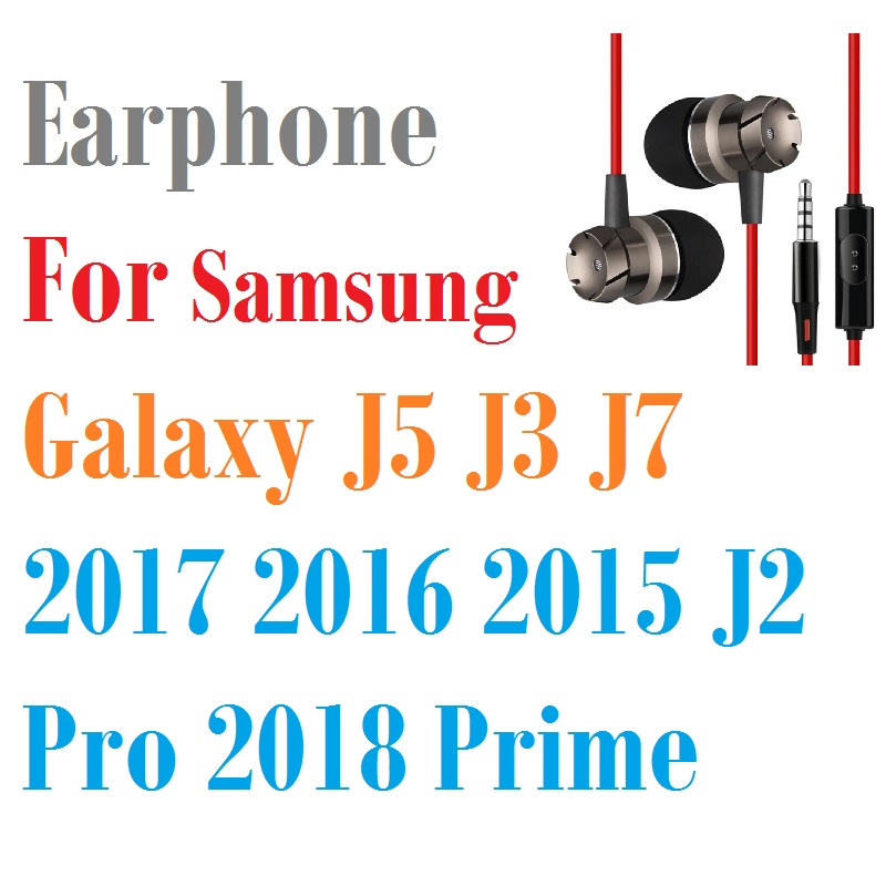 3.5mm Earphone For Samsung Galaxy J5 J3 J7 2017 2016 2015 J2 Pro 2018 Prime Earpiece Headset Fone De Ouvido Earbuds With Mic image