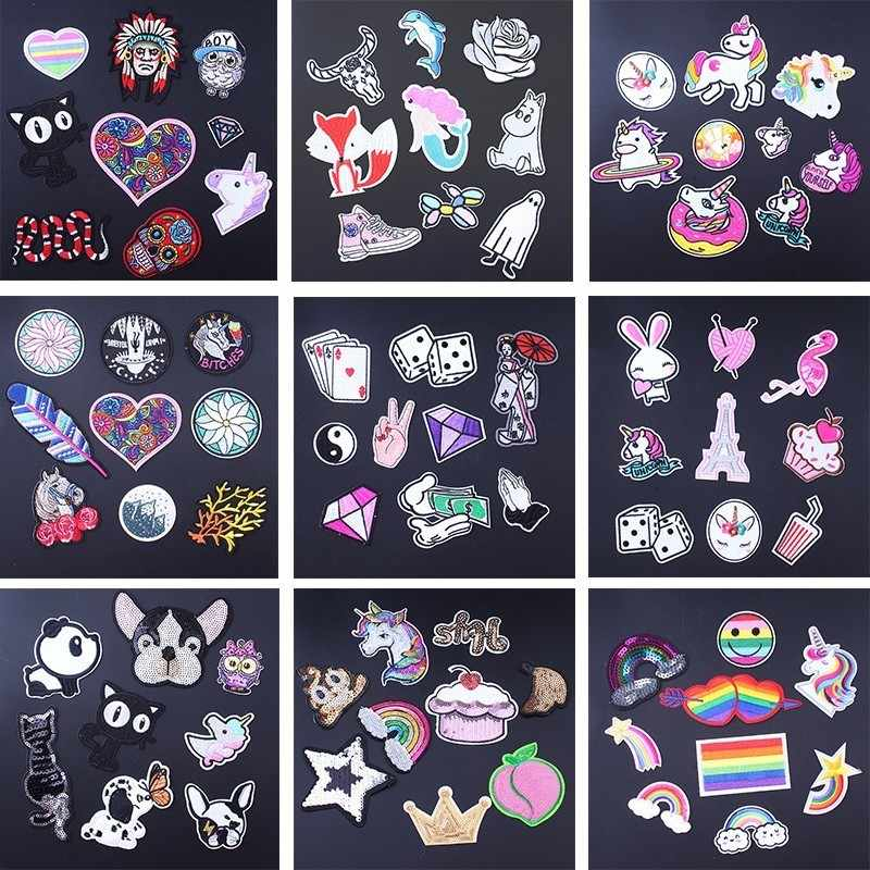 Pulaqi 9 pçs/lote Carta Rainbow Heart Remendo Unicórnio Conjunto Bonito Baratos Patches Bordados de Ferro No Cartoon Patches Para Roupa Dos Miúdos D