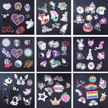 Pulaqi 9pcs/lot Letter Rainbow Heart Unicorn Patch Iron On Cartoon Patches Set Cute Cheap Embroidered For Kids Clothes D