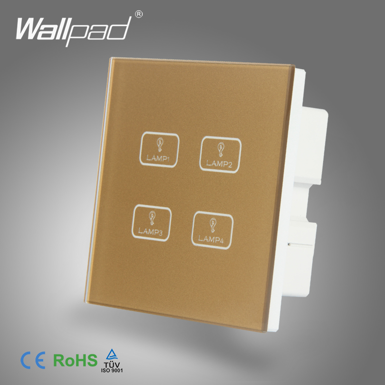 Hot Sales 4 Gang Touch New Design Wallpad Gold Tempered Glass Switch LED Ligh 4 Gang 1 Way Touch Sensitive Light Wall Switch