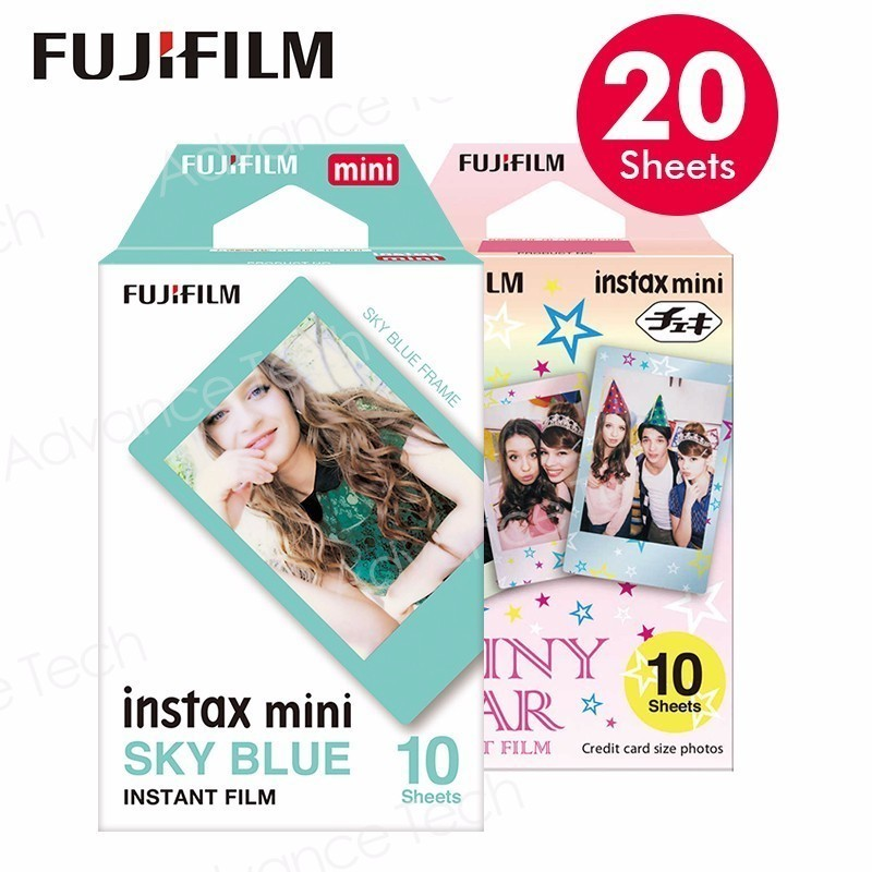 20 Sheets Genuine Fuji Fujifilm Instax Mini Film Monochrome Mono Shiny Star Prints White for 70 8 Plus 90 25 Camera SP-1 SP-2