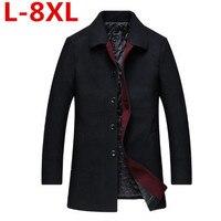 big size 8XL 7XL 6XL High grade New Fashion Brand Clothing Jacket Men Wool Coat Pea Coats Men Long Wool & Blends Winter Coat Men