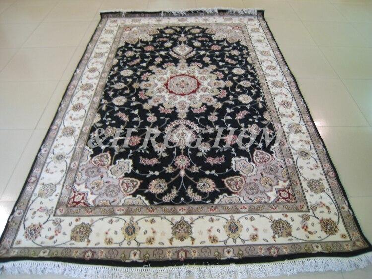 Livraison gratuite 6'X9' 160 ligne laine nouée à la main et soie Oriental persan tapis fait main tapis persan