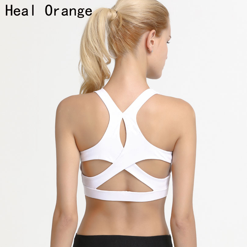 Anti-Sweat Sports Bra Tops Women Cropped Athletic Vest Strappy Yoga Top High Sup