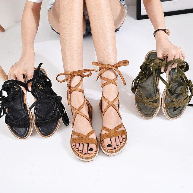 a37a915d5 Summer New Fashion Women Genuine Leather Roman Sandals Cross Straps Women  Flats Sandals Black Brown Sandalia Plus Size 34-42