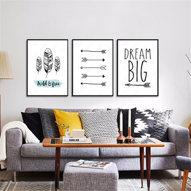 HAOCHU House Office Bedroom DIY Painting Quote Arrow Black White Background Wall Art Poster Print Canvas & HAOCHU House Office Bedroom DIY Painting Quote Arrow Black White ...