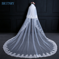 BRITNRY Hot Sale Cathedral Wedding Veil Long Lace Edge Bridal Veil Two Layer Appliqued Wedding Veils Ivory Blusher Veil