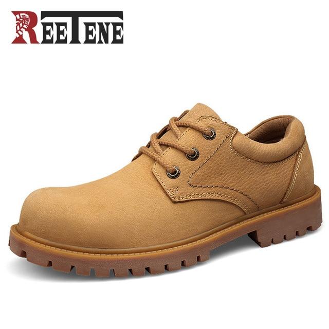 REETENE Marca de Moda 2016 Hombres de La Vendimia Estilo Casual Zapatos Oxford Planos de La Manera Engrosamiento Suela de Otoño Nobuck Botas Al Aire Libre