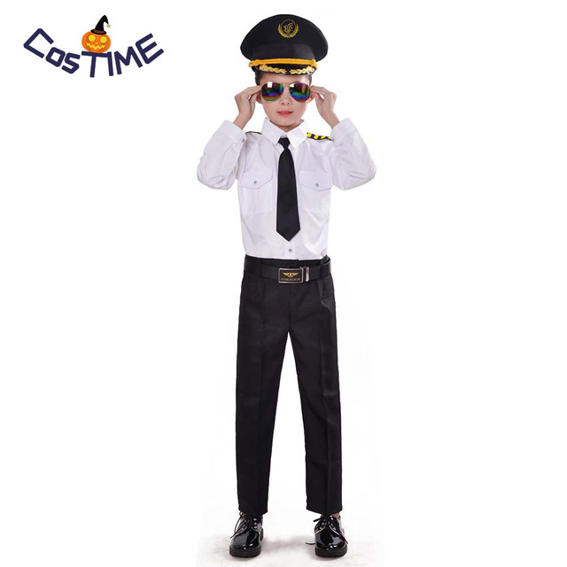 60043ca0b07 Airline Pilot Costume Cool Boy Captain Roleplay 6 pcs Dress Up Set Mile  High Flight Uniform Halloween Costume for Children