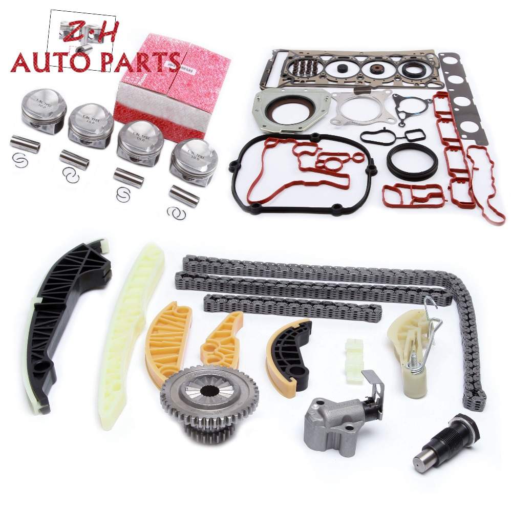 NEW Pin 21mm Engine Overhaul Rebuild Piston Gasket Timing Tensioner Chain Guide Kit For Audi VW Skoda Seat 1.8TSI 06H107065CPNEW Pin 21mm Engine Overhaul Rebuild Piston Gasket Timing Tensioner Chain Guide Kit For Audi VW Skoda Seat 1.8TSI 06H107065CP