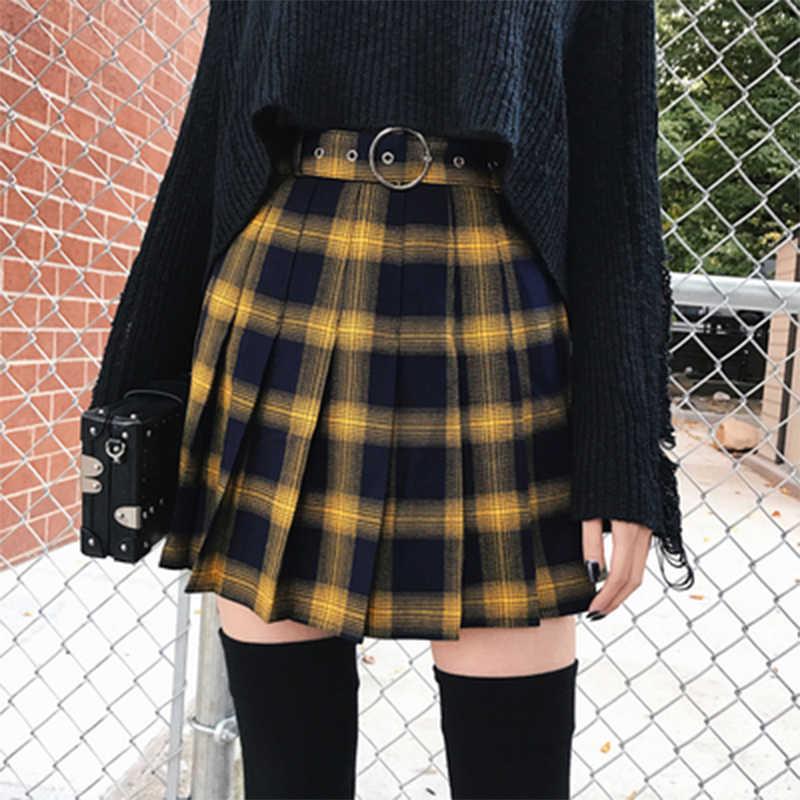 Весенняя и Летняя женская модная юбка в стиле Харадзюку, милая желтая, черная, красная плиссированная юбка в клетку, Женская юбка в стиле панк с высокой талией