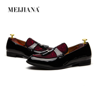 MeiJiaNa Brand Fashion Soft Artificial Leather Breathable Men's Shoes Slip on Mocassins Men Loafers Red