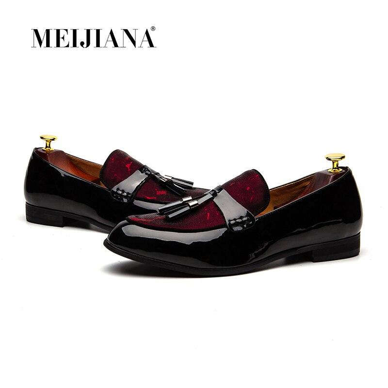 MeiJiaNa Marca Moda Couro Artificial Macio Respirável Sapatos Slip-on Mocassins Homens Preguiçosos dos homens Vermelho