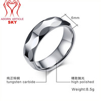Unisex 10mm Faceted Simulated Black Magnetic Hematite Healing Jewelry Band Finger Ring