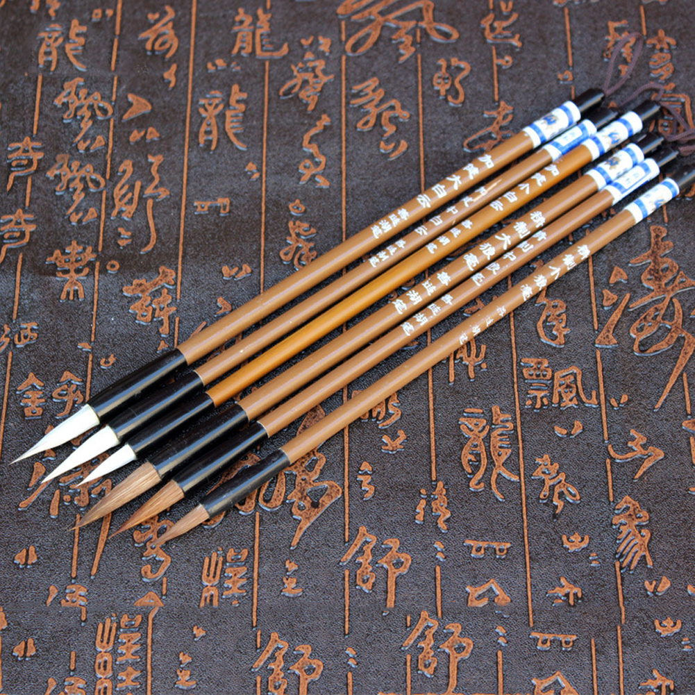 6pcs/Set Traditional Chinese Writing Brushes White Clouds Bamboo Wolf's Hair Writing Brush For Calligraphy Painting Practice ~